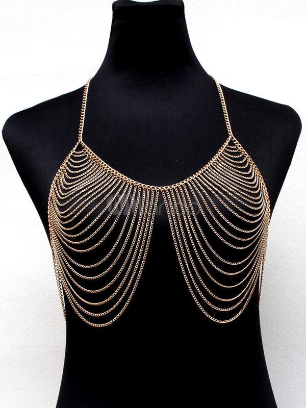 b710605cc8 ... Gold Body Chain Bralette Top Layered Alloy Beach Body Harness Jewelry-No.3  ...