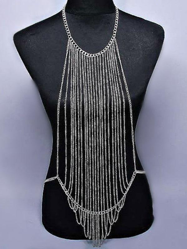 e1a8ce5d06d Silver Body Chain Bralette Body Harness Body Jewelry - Milanoo.com