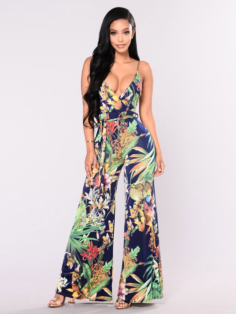 Buy Women Summer Jumpsuit Sleeveless Straps Printed Backless Sash Wide Leg Jumpsuit for $37.99 in Milanoo store