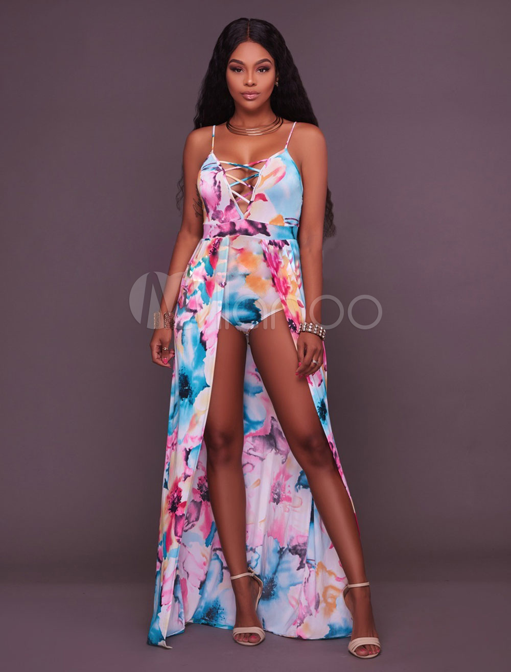 Buy Women Romper Dress Straps Cut Out Floral Print Backless Summer Playsuit for $30.59 in Milanoo store