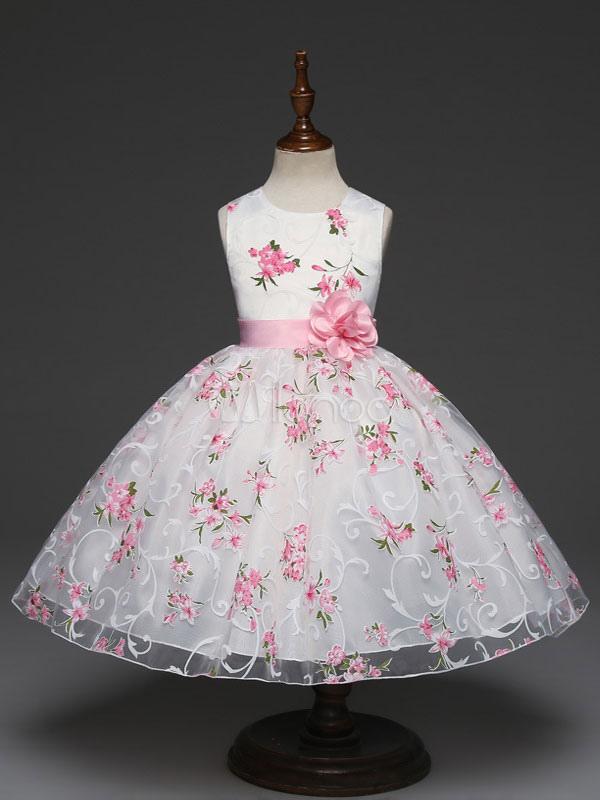 Floral Flower Girl Dresses Printed Princess Short Sleeveless Flower Sash White Kids Pageant Dresses