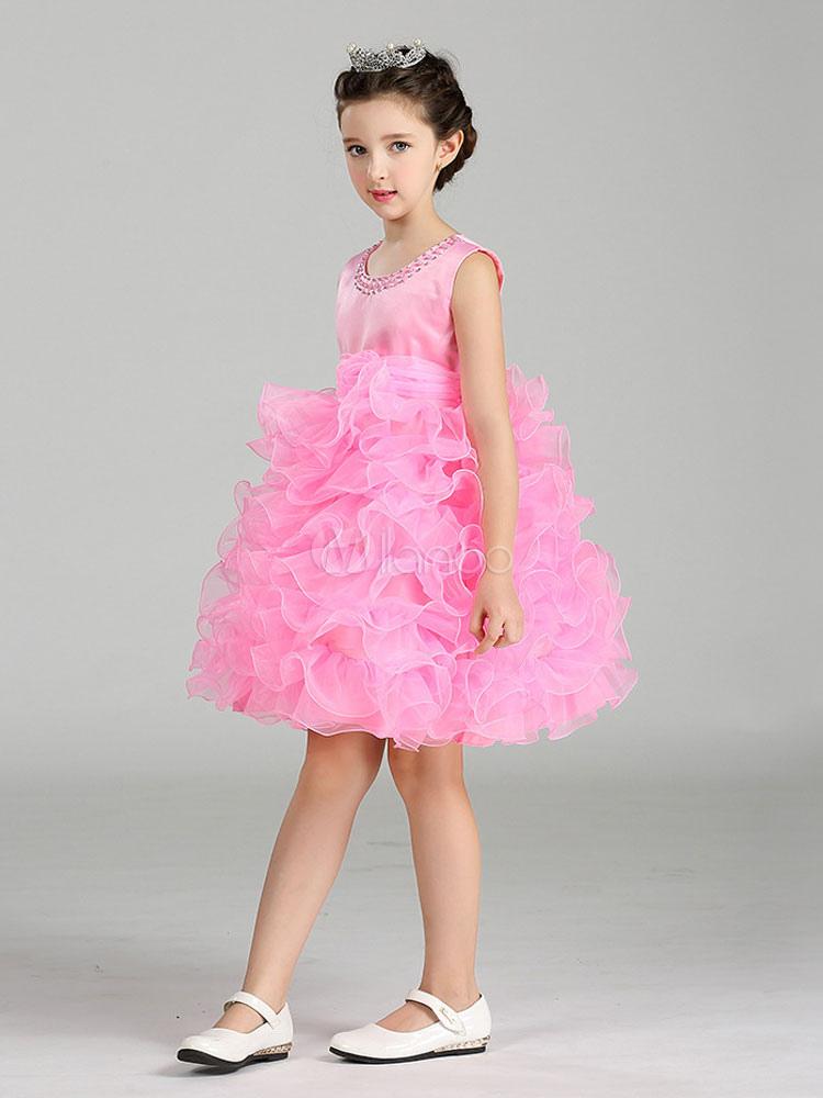 Vestido de florista barato con escote redondo sin mangas estilo de ...