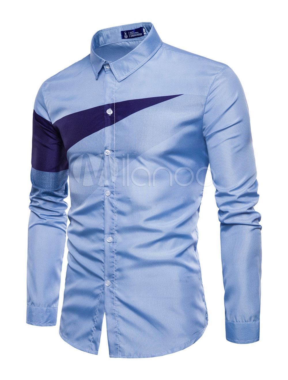 Men Shirt Casual Geometric Print Two Tone Light Blue Long Sleeve Shirt