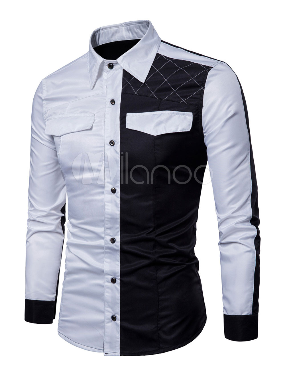 Casual Shirt Men Color Block Pacthwork Spring Long Sleeve Shirt White