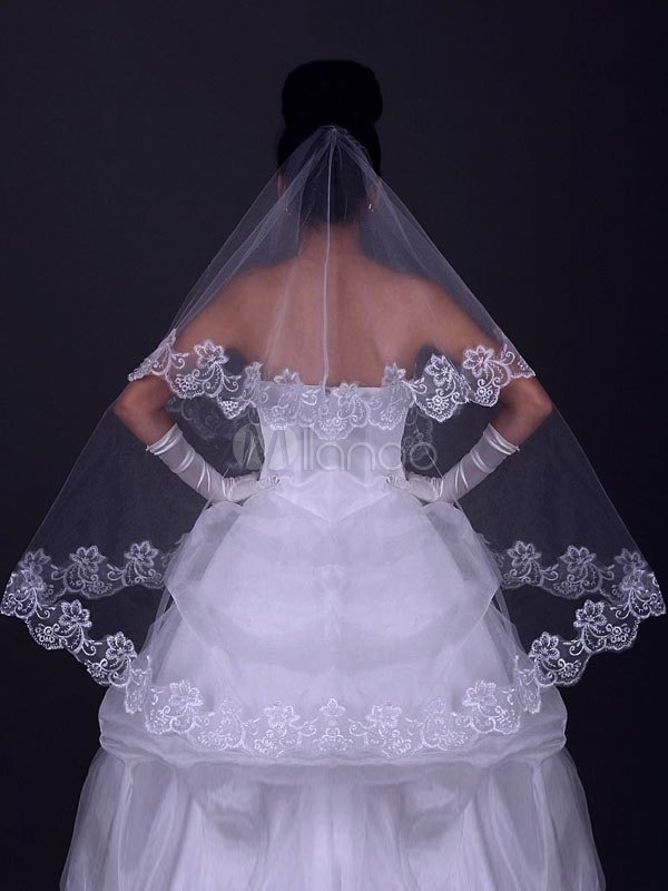 White Wedding Veil Tulle Lace Trim One Tier Oval Bridal Veils