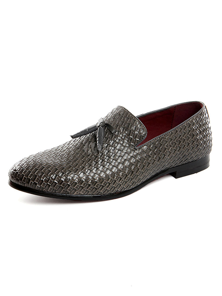 Grey Men Loafers Round Toe Patterned Slip On Shoes Casual Business Shoes With Tassels