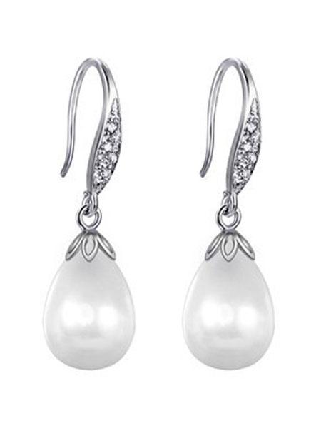 Buy Wedding Pearl Earrings White Drop Earring Cubic Zirconia Bridal Jewelry for $13.01 in Milanoo store