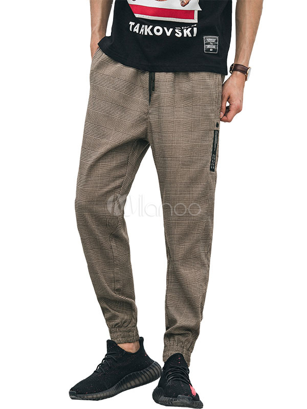 Buy Men Khaki Pant Plaid Harem Pant Cotton Ankle Band Casual Pant for $36.79 in Milanoo store
