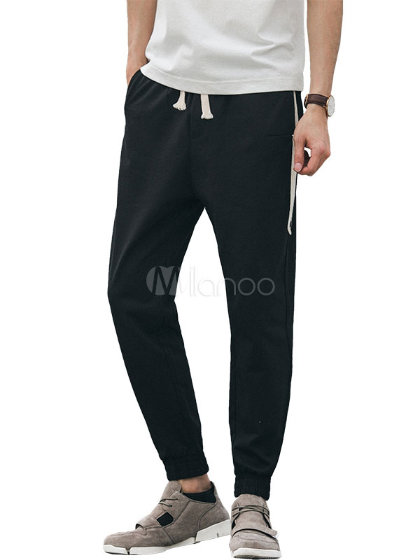 Buy Men Cotton Pant Two Tone Harem Pant Ankle Band Black Casual Pant for $36.79 in Milanoo store