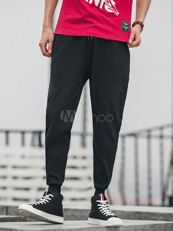 Buy Men Pant Jogging Drawstring Patchwork Cotton Sweat Pant Ankle Band Harem Pant for $36.79 in Milanoo store