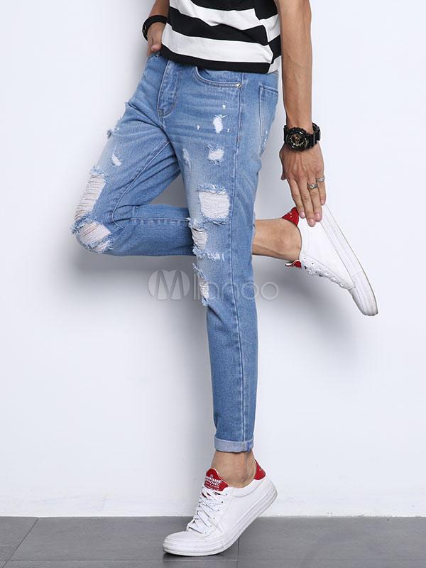 Pantalones Vaqueros Hombre 2021 Ripped Jean Destroyed Wash Skinny Leg Light Azul Denim Jeans Milanoo Com