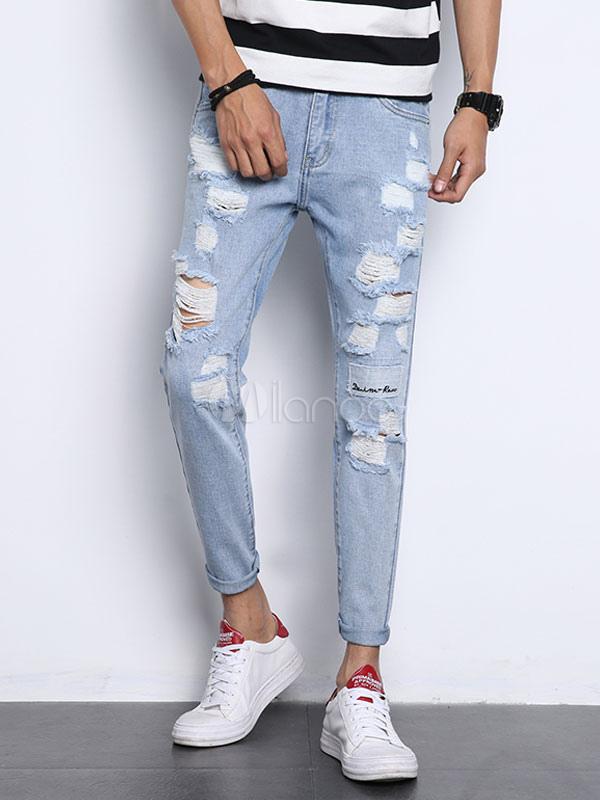 Jeans uomo in denim blu chiari jeans dritti monocolore casuale