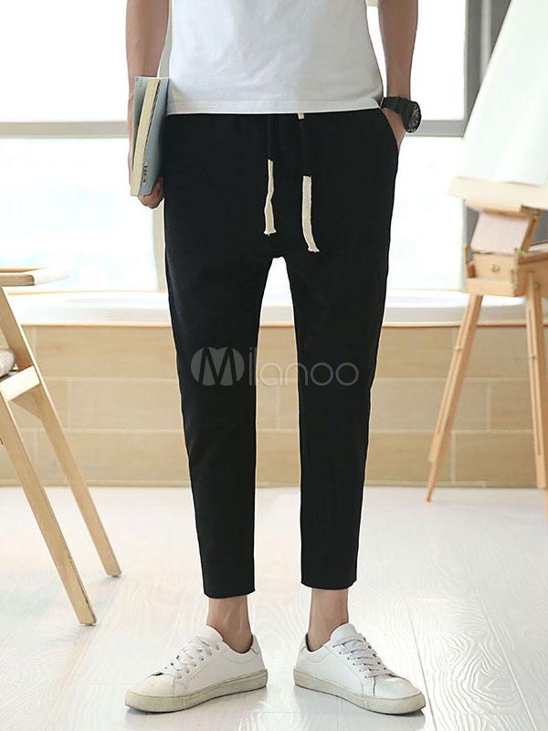 Buy Black Casual Pant Drawstring Sweat Pant Cotton Linen Men Pant Jogging for $36.79 in Milanoo store
