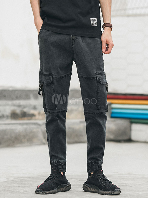 Men Denim Jeans Harem Style Pocket Ankle Band Black Jeans
