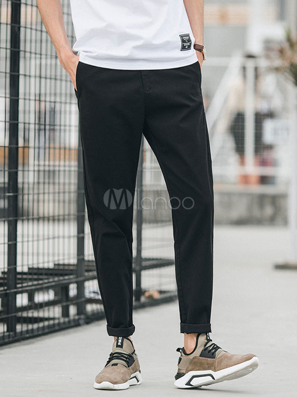 Buy Men Casual Pant Cotton Tapered Pant Ankle Band Cropped Pant for $36.79 in Milanoo store