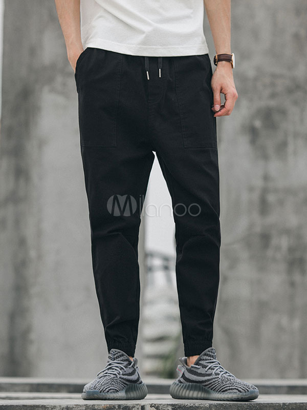 Buy Men Pant Casual Pocket Harem Pant Drawstring Ankle Band Pant Cotton for $36.79 in Milanoo store