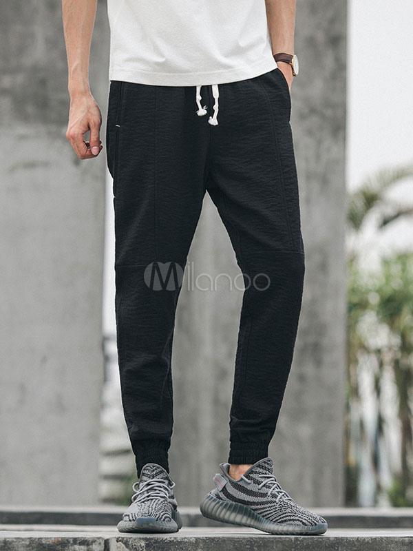 Buy Men Black Pant Ankle Band Harem Pant Drawstring Drawstring Pant Jogging for $36.79 in Milanoo store