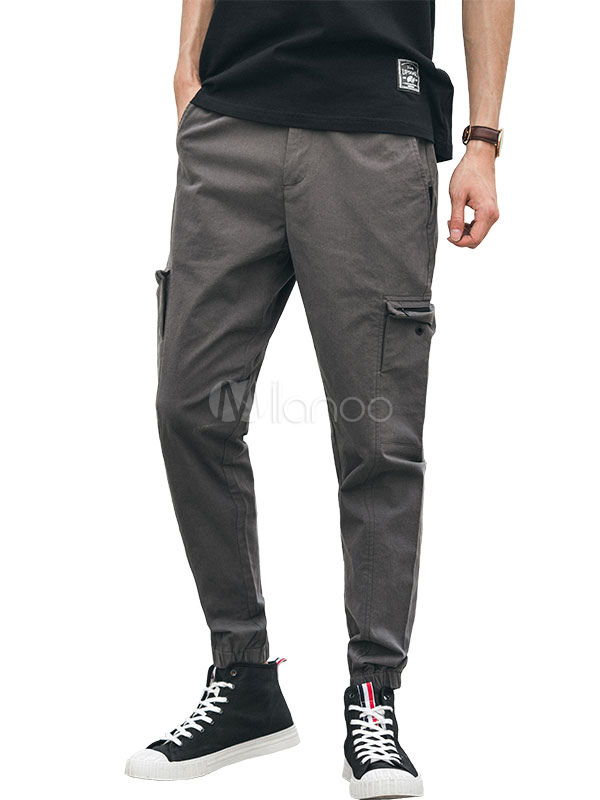 Buy Men Grey Pant Pocket Ankle Band Harem Pant Cotton Pant Casual for $36.79 in Milanoo store