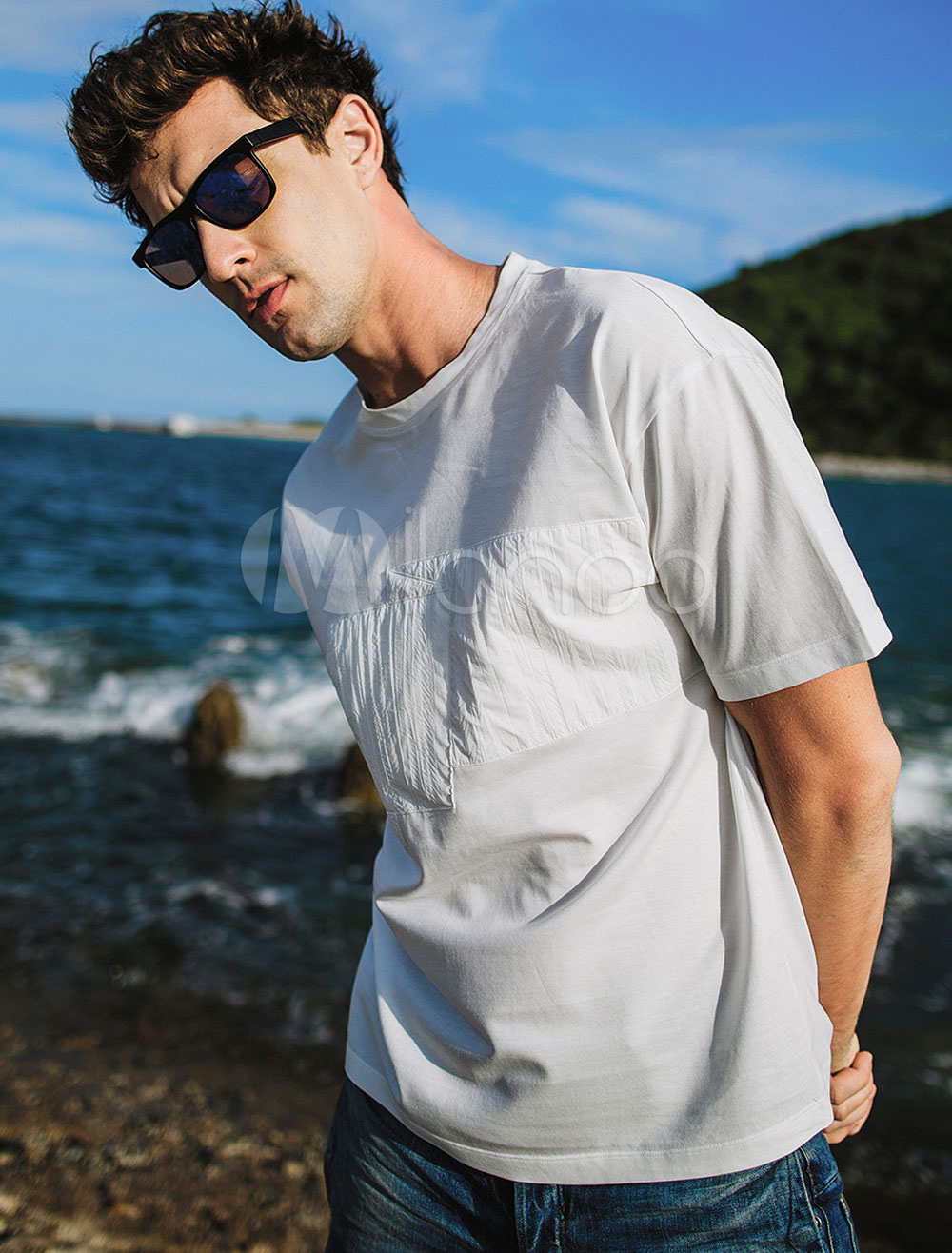 Buy White Men T Shirt Round Neck Relaxed Fit Short Sleeve Cotton Summer Top for $31.27 in Milanoo store