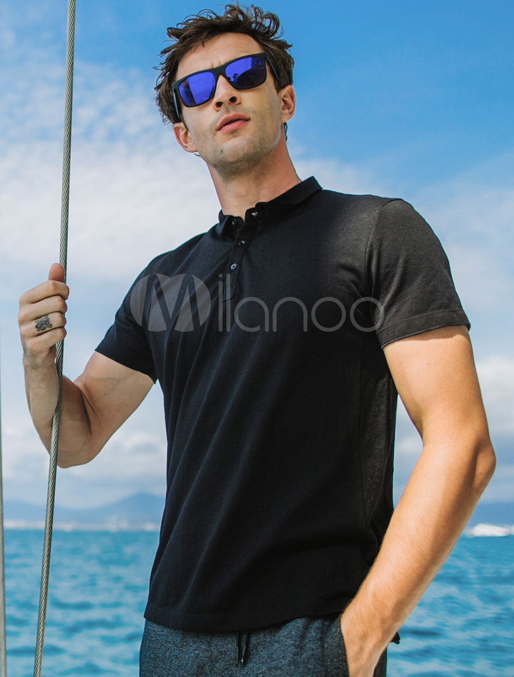 Buy Polo Shirt Cotton Turndown Collar Short Sleeve Men Summer T Shirt for $30.35 in Milanoo store