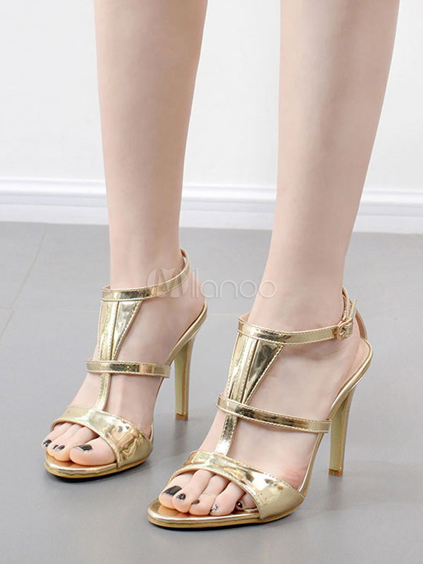 Buy High Heel Sandals Gold Open Toe T Type Buckle Detail Sandal Shoes Strappy Sandal Shoes for $38.24 in Milanoo store