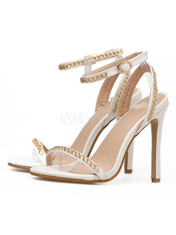 White Women Sandals High Heel Sandals Open Toe Metal Detail Ankle Strap Sandal Shoes