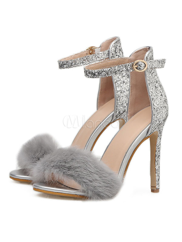 12f6146be93 Silver Evening Shoes High Heel Sandals Open Toe Faux Fur Detail Ankle Strap  Sandal Shoes- ...