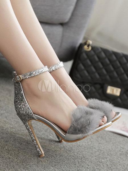 8d696d2b2ce ... Silver Evening Shoes High Heel Sandals Open Toe Faux Fur Detail Ankle  Strap Sandal Shoes-