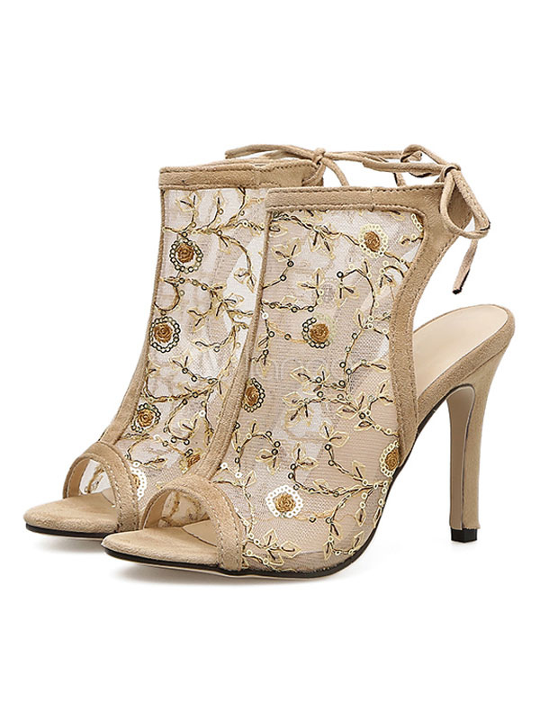 Buy High Heel Sandals Apricot Peep Toe Lace Up Slingbacks Sandal Booties For Women for $35.09 in Milanoo store