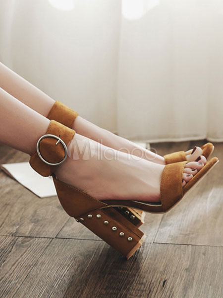 Buy Brown Sandal Shoes High Heel Sandals Open Toe Buckle Detail Ankle Strap Sandal Shoes for $41.39 in Milanoo store