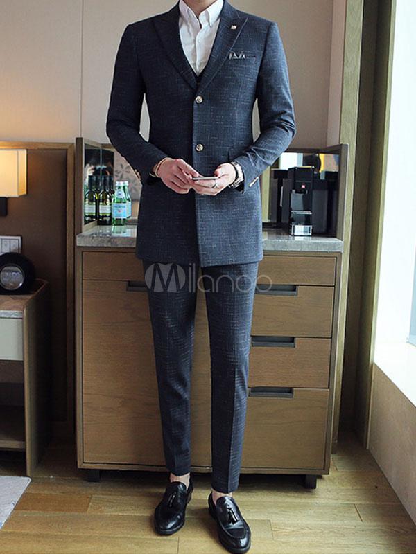 Groom Wedding Suits Light Grey Peak Lapel Tuxedo Men Formal Wear 3 Pieces Set