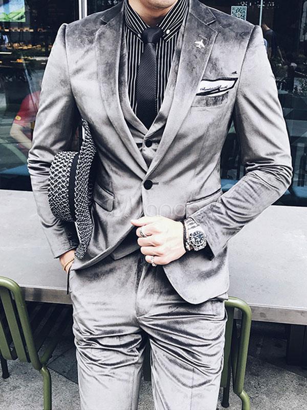 Wedding Suits Men Grey Velour Notched Laple Groom Tuxedo Men Formal Wear 3 Piece Set