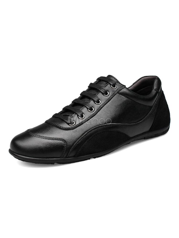 Black Flat Shoes Men Shoes Round Toe Lace Up Casual Shoes