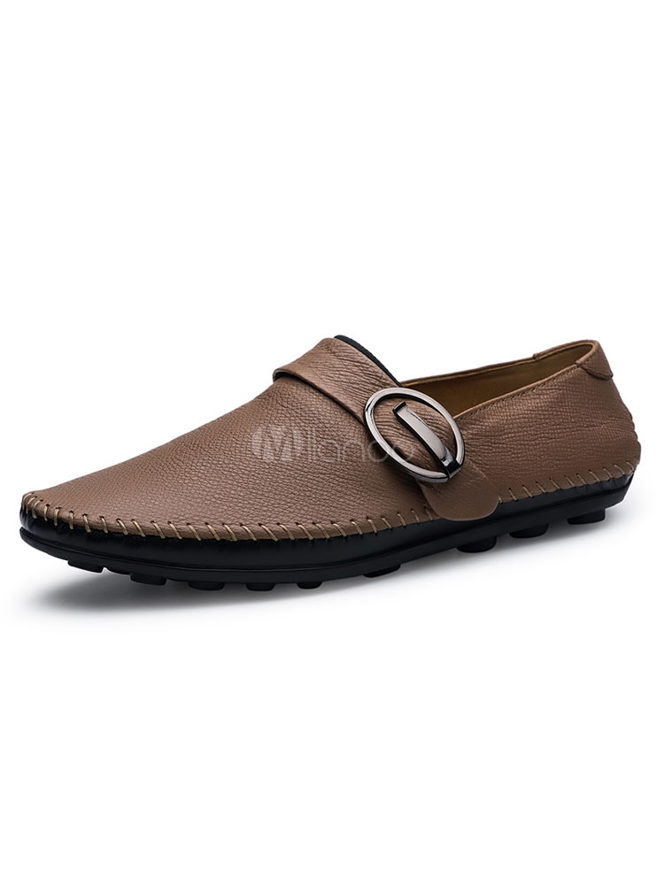 Light Brown Casual Shoes Men Shoes Cowhide Round Toe Buckle Detail Slip On Shoes