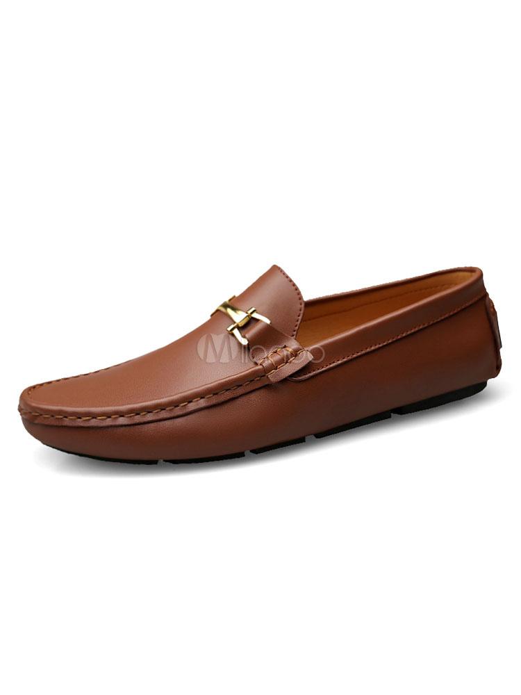 Men Loafers Cowhide Light Brown Round Toe Metal Detail Slip-Ons