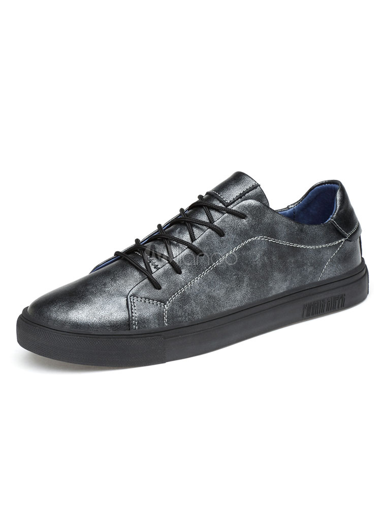 Grey Skate Shoes Men Shoes Leather Round Toe Lace Up Sneakers