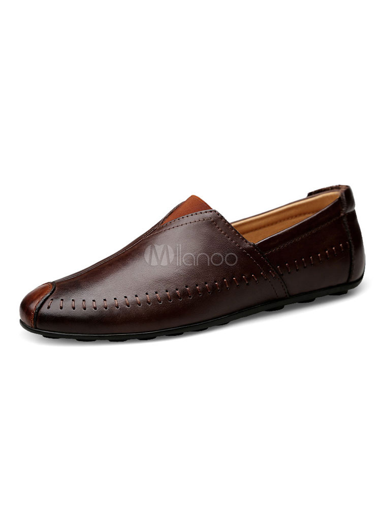 Men Driving Shoes Deep Brown Round Toe Slip Ons Leather Casual Shoes