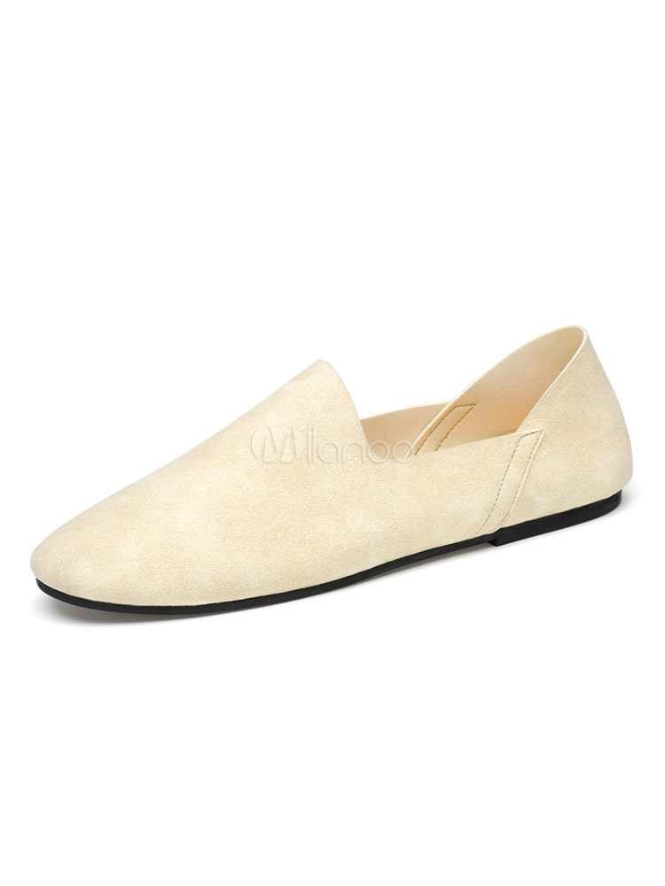 Men Casual Shoes Ecru White Round Toe Slip On Shoes Spring Shoes