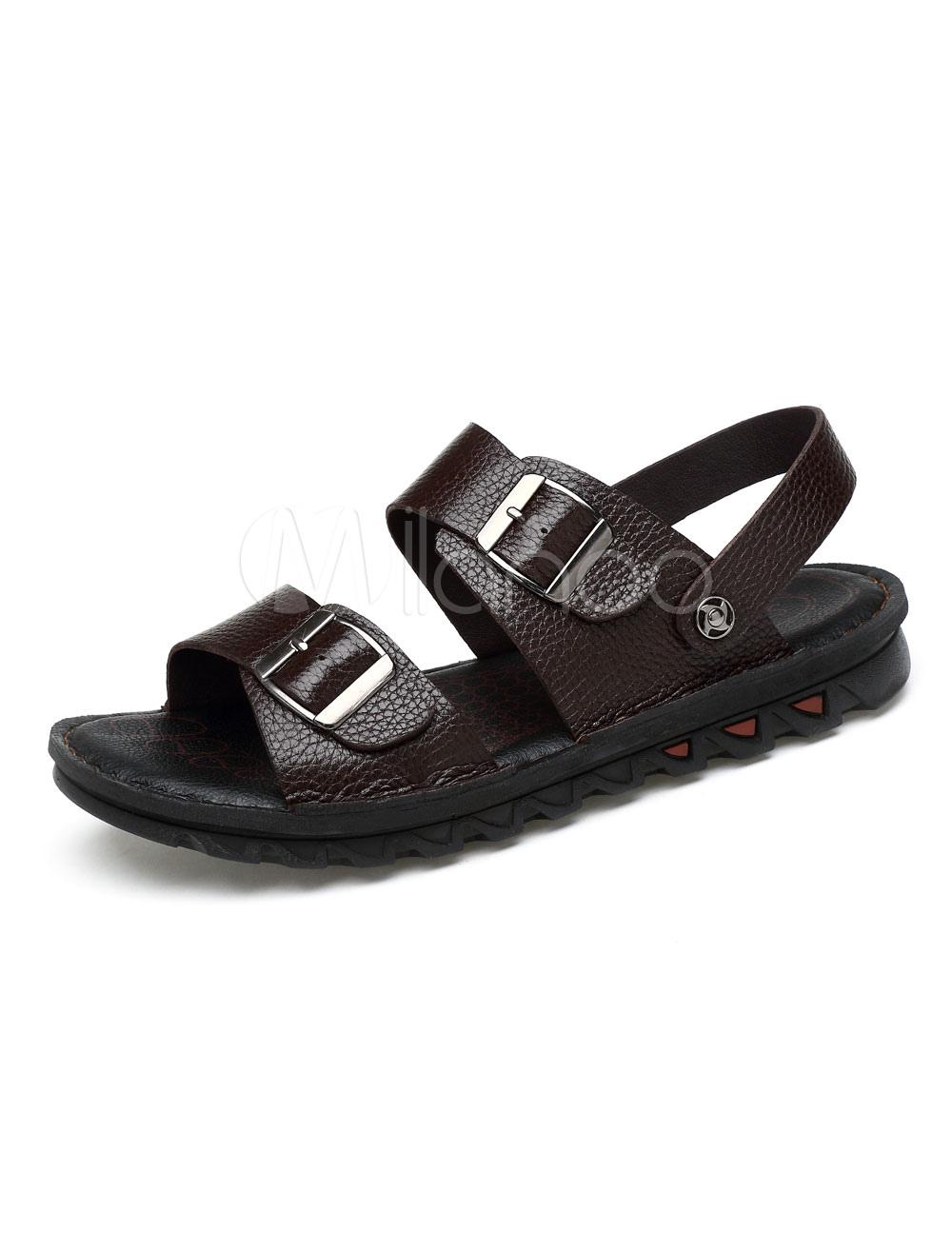 Buy Black Men Sandals Cowhide Open Toe Buckle Detail Flat Sandal Shoes Sandal Slippers for $38.24 in Milanoo store