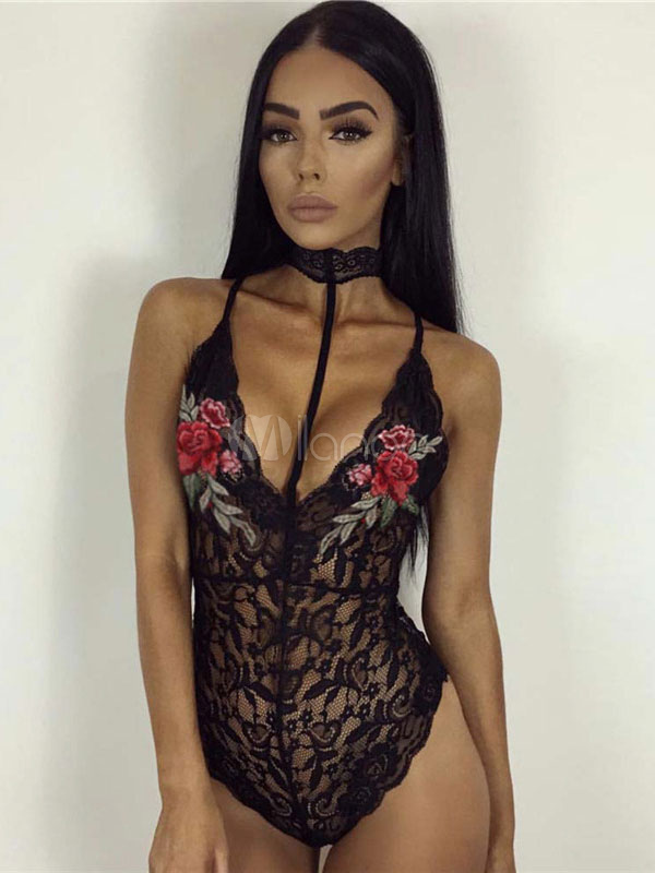 Buy Women Sexy Bodysuit Choker Black Lace Embroidered Semi Sheer Clubwear for $14.44 in Milanoo store