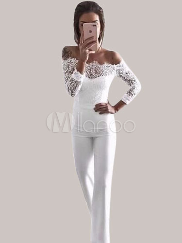 Buy Sexy White Jumpsuit Lace Long Sleeve Off The Shoulder Sash Long Leg Jumpsuit for $33.24 in Milanoo store