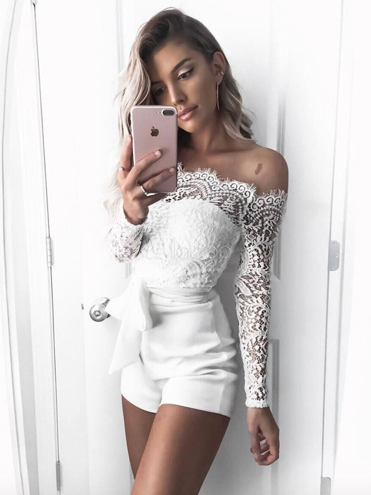 Buy Women White Romper Long Sleeve Off The Shoulder Sash Sexy Lace Playsuit for $23.99 in Milanoo store