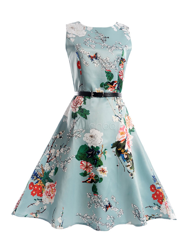 Summer Midi Dress 1950s Floral Print Sash Light Blue Vintage Dress