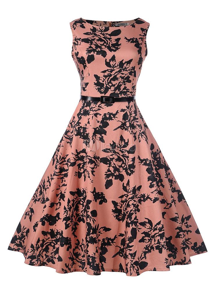 2a6237a3c Vestido vintage de poliéster rosa con escote redondo sin mangas con  estampado de flores con faja ...