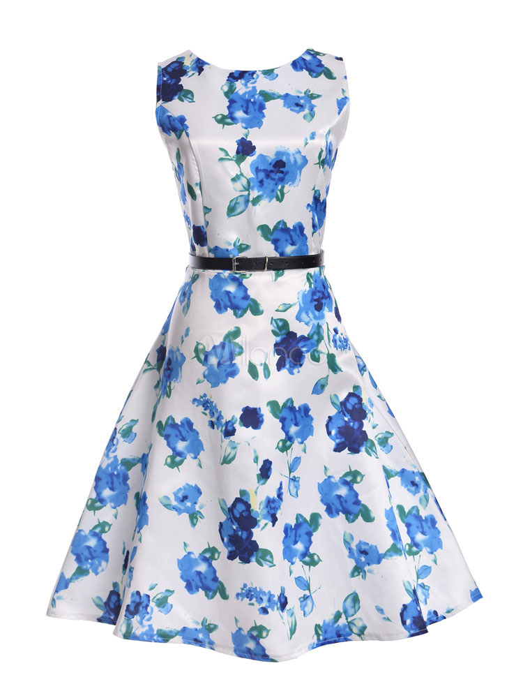 Buy Floral Vintage Dress 1950s White Printed Sash Summer Dress Women Swing Dress for $29.99 in Milanoo store