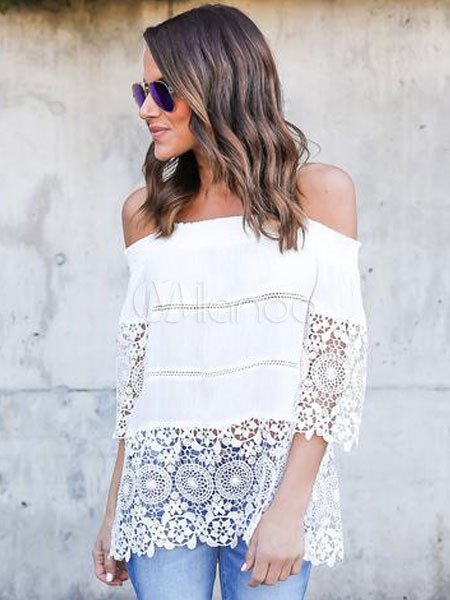 Women White Blouses Straps Cold Shoulder Lace Summer Top