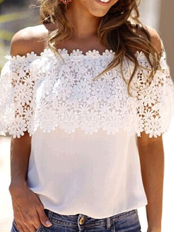 Women White Blouses Lace Half Sleeve Off The Shoulder Chiffon Summer Top