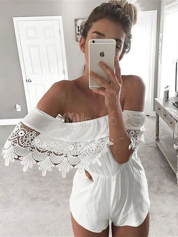 Women White Romper Lace Off The Shoulder Half Sleeve Summer Playsuit