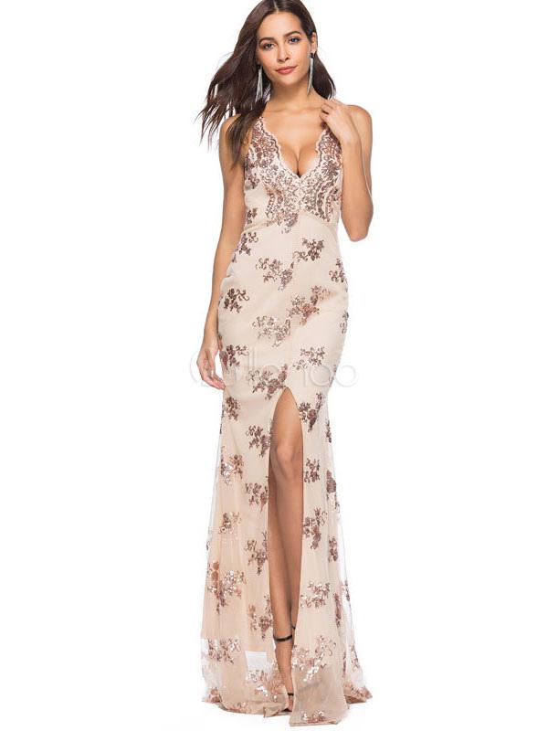 cc744e4e3c5 Sexy Long Dress V Neck Sleeveless Sequins Split Maxi Dress Evening Dress  For Women-No ...