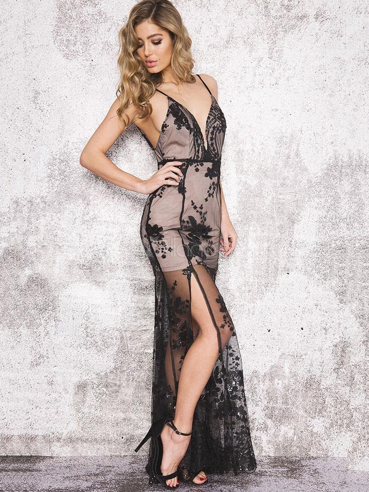Black Long Dress Sleeveless Sequins Split Backless Sexy Party Dress